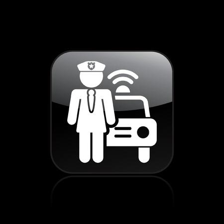 blocco stradale: Illustrazione vettoriale di sola icona isolato ragazza polizia Vettoriali