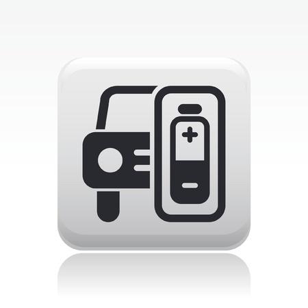lading: Vector illustratie van enkele geïsoleerde auto oplaadsymbool Stock Illustratie