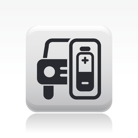 electric automobile: Vector illustration of single isolated car charge icon