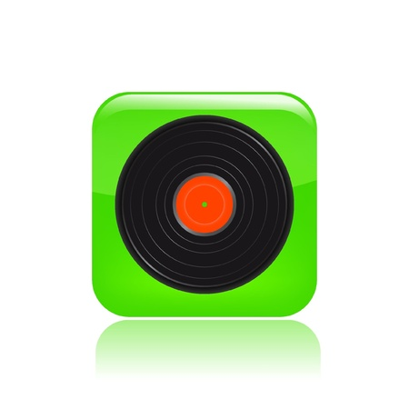 dee jay: Vector illustration of single isolated disco icon Illustration