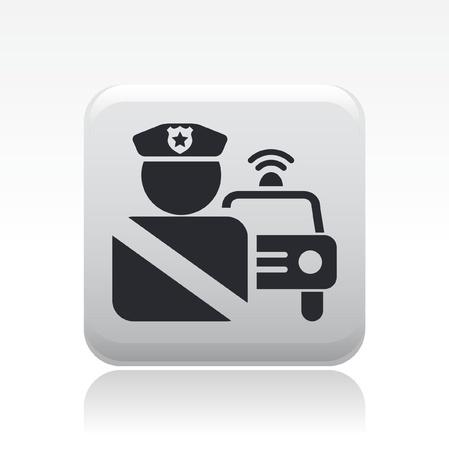 blocco stradale: Illustrazione vettoriale di singola icona isolato auto della polizia Vettoriali