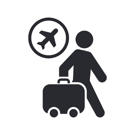 trolley case: Vector illustration of single isolated travel icon