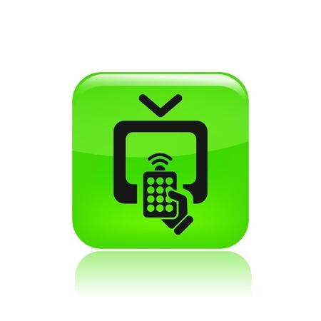 tv remote: Векторная иллюстрация одной изолированной значок пульта ДУ телевизора