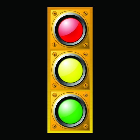 signal stop: Vector illustration of single isolated traffic light icon Illustration