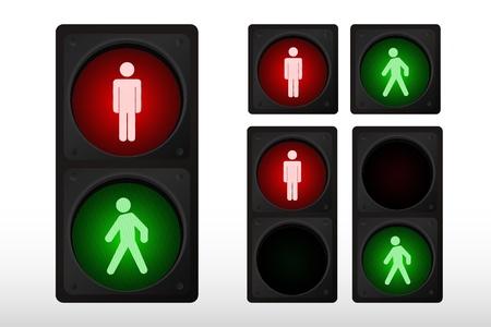 pedestrians: Vector illustration of single isolated traffic light icon Illustration