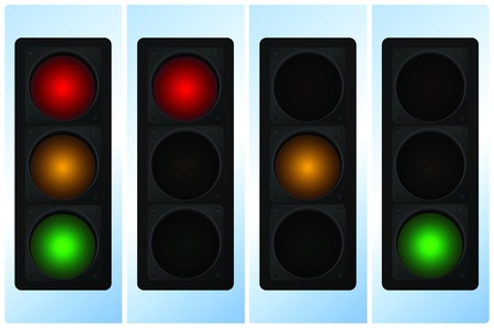 prudence: Vector illustration of single isolated traffic light icon Illustration