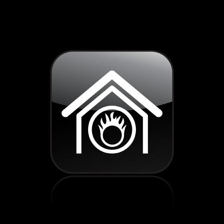 Vector illustration of single isolated danger home icon Иллюстрация
