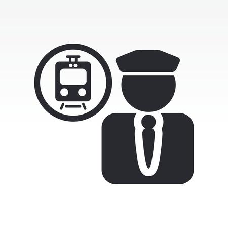Ilustración vectorial de un solo icono aislado conductor de tren