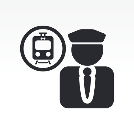 Vector illustration of single isolated train conductor icon