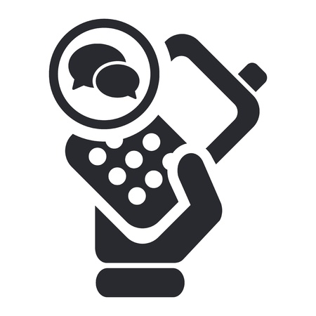 cellphone in hand: Vector illustration of single isolated chat smartphone icon