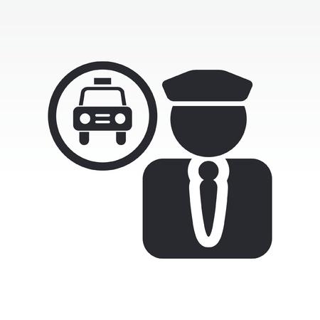 conductor: Ilustraci�n vectorial de un solo icono aislado taxista