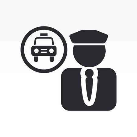 Vector illustratie van enkele geïsoleerde taxichauffeur icoon