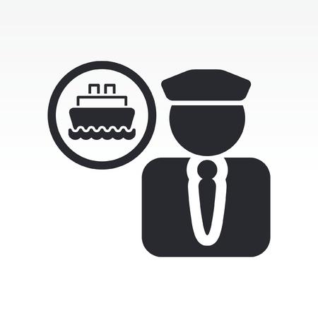 comandante: Illustrazione vettoriale di sola icona barca isolato