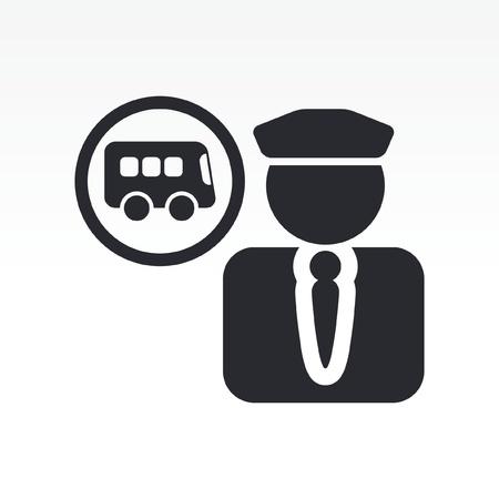 bus driver: Ilustraci�n vectorial de un solo icono aislado conductor de autob�s