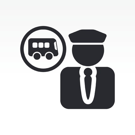 conductor: Vector illustration of single isolated bus driver icon