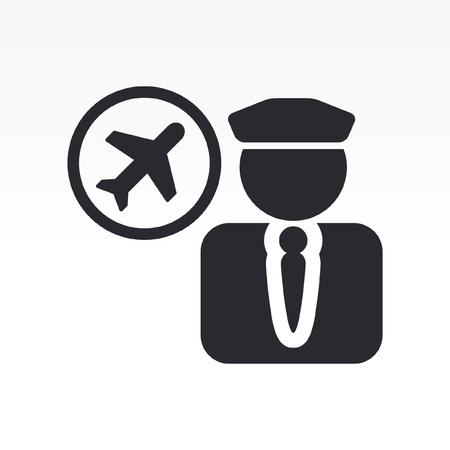 piloto de avion: Ilustraci�n vectorial de icono de un solo piloto aislado