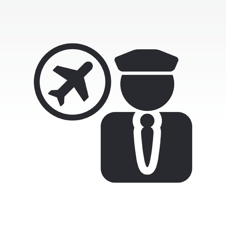 commander: Vector illustration of single isolated pilot icon