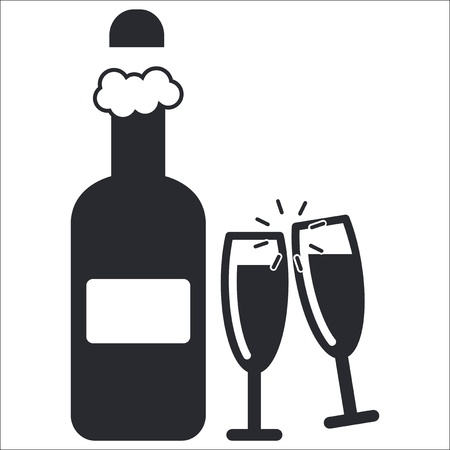 Vector illustration of single isolated champagne icon Vector