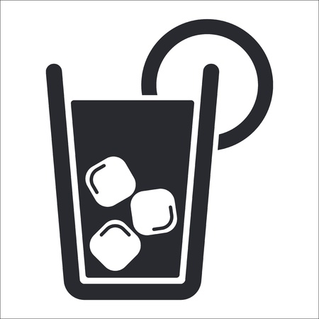 iced tea: Vector illustration of single isolated cocktail icon