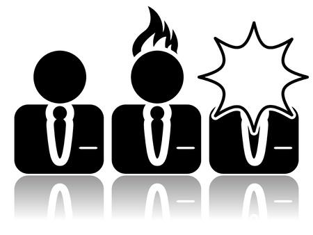 ersch�pft: Vektor-Illustration von isolierten abstrakten Stress-Symbol