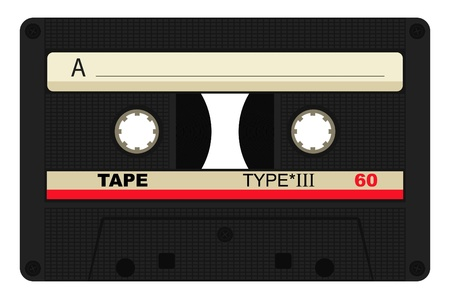 compact cassette: Vector illustration of single 80 isolated tape design Illustration