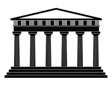 templo griego: Ilustraci�n vectorial de un solo �cono templo aislado