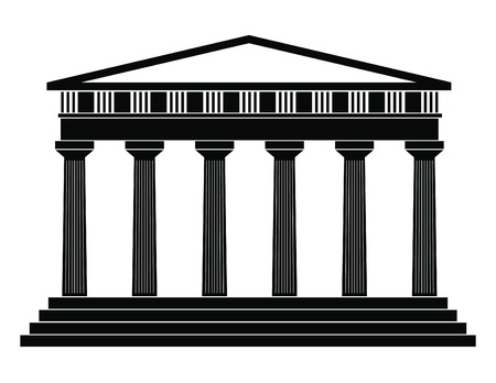 greek temple: Vector illustration of single isolated temple icon