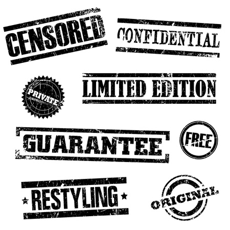 censorship: Vector illustration of single isolated stamps set
