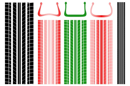 tire imprint: Vector illustration of tire tracks with information on the proper pressure Illustration