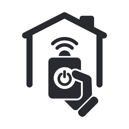 icono home: Ilustraci�n vectorial de un solo icono aislada casa a distancia Vectores