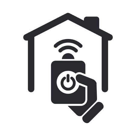 command button: Vector illustration of single isolated remote home icon Illustration