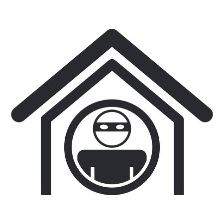 dieven: Vector illustratie van enkele geïsoleerde woning dief icoon
