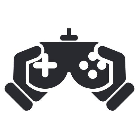 jugando videojuegos: Ilustraci�n vectorial de un solo icono aislado videojuego Vectores