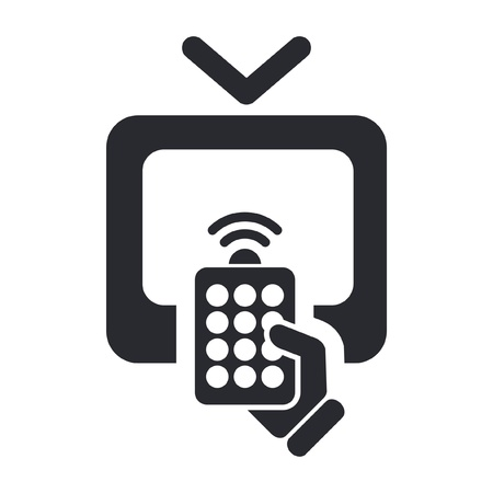 Vector illustration of single isolated remote tv icon
