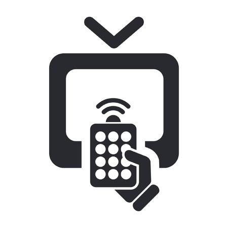 Ilustración vectorial de un solo icono aislado a distancia del televisor