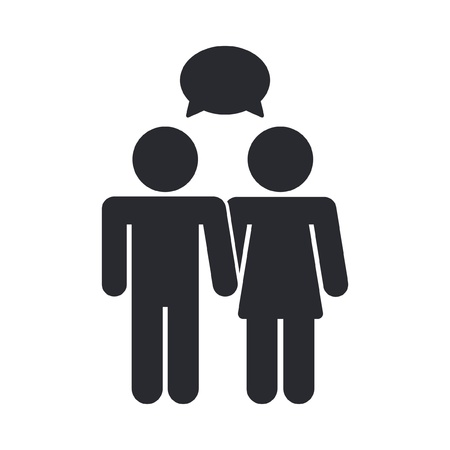 single woman: Vector illustration of single isolated chat icon