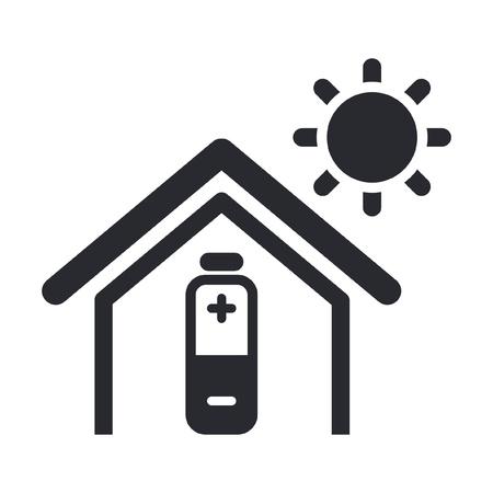 maison solaire: Vector illustration de seule ic�ne isol� l'�nergie solaire � domicile