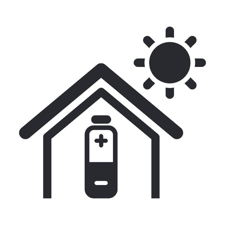 solar house: Vector illustration of single isolated solar energy home icon Illustration