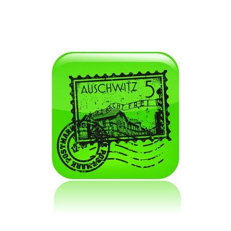 holocaust: Vector illustration of single isolated Auschwitz icon