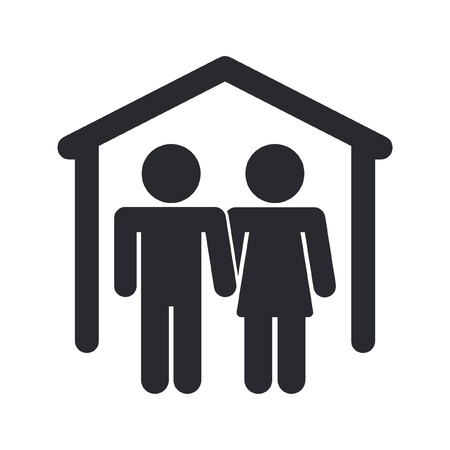 Vector illustration of single isolated home couple icon Vector