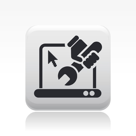 repair computer: Vector illustration of single isolated pc repair icon Illustration