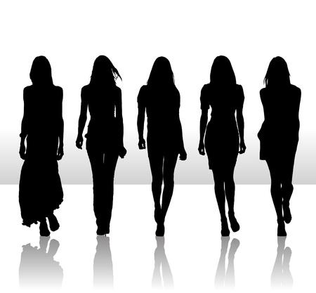 Illustrazione vettoriale di singole ragazze isolate impostare l'icona silhouette