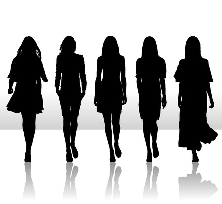 women and men: Vector illustration of single isolated girls set silhouette icon