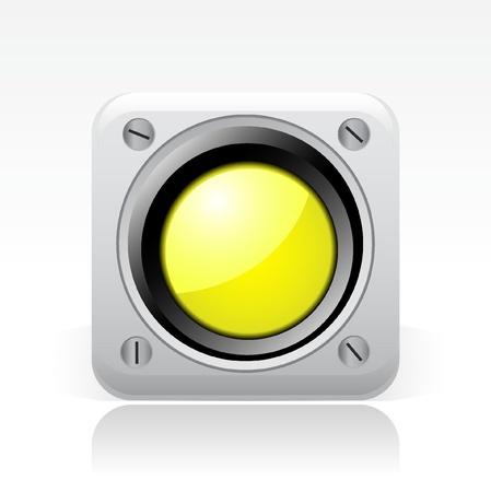 semaphore: Vector illustration of single isolated yellow traffic light icon