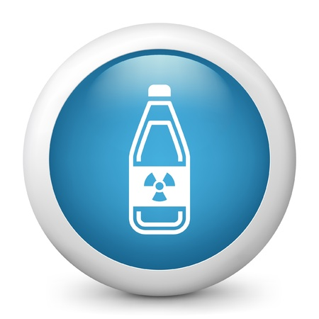 combustible: Vector illustration of modern icon depicting a bottle containing liquid dangerous, with symbol radioactive