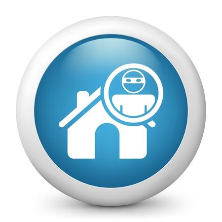 thug: Vector illustration of blue glossy icon. Illustration