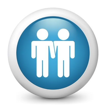 homosexual partners: Vector illustration of blue glossy icon. Illustration