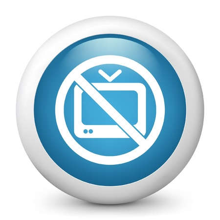 televised: Vector illustration of blue glossy icon. Illustration