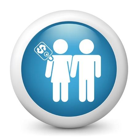 prostitue: Vector illustratie van blauwe glanzende pictogram.