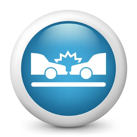crash car: Vector illustration of blue glossy icon. Illustration
